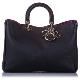 Dior-Dior Black Large Diorissimo Leather Satchel-Black