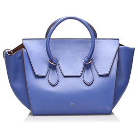 Céline-Celine Blue Tie Tote Leather Handbag-Brown,Blue