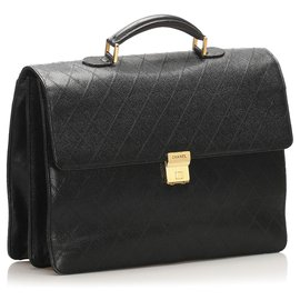 Chanel-Chanel Black Timeless Leather Business Bag-Black