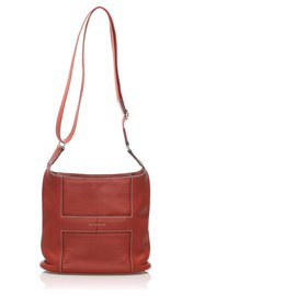 Hermès-Hermes Orange Taurillon Clemence Sac Good News Crossbody Bag-Orange