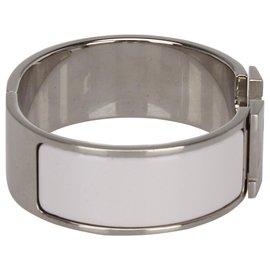 Hermès-Bracelet Hermès Clic Clac H Blanc-Argenté,Blanc