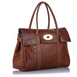 Mulberry-Mulberry Brown Embossed Bayswater Leather Handbag-Brown