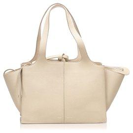 Céline-Celine Brown Trifold Leather Handbag-Brown,Beige