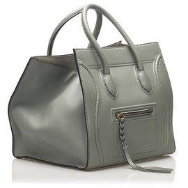 Céline-Celine Gray Phantom Leather Handbag-Grey