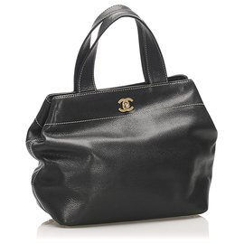 Chanel-Chanel Black CC Leather Satchel-Black