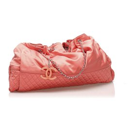 Chanel-Chanel Pink Melrose Cabas Satin Shoulder Bag-Pink