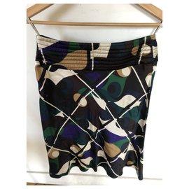 Céline-Céline fluid skirt with multicolored graphic print-Multiple colors