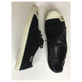 Chanel-Suede Low Top Trainers-Black,White