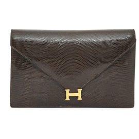 Hermès-LYDIE BROWN LIZARD BAG CLUTCH-Brown