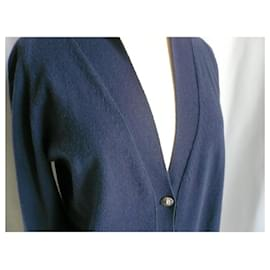 Chanel-CHANEL Long deep blue cashmere cardigan Mint condition T40/42-Blue