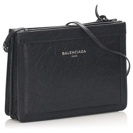 Balenciaga-Balenciaga Black Navy Pochette Leather Crossbody Bag-Black