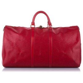 Louis Vuitton-Louis Vuitton Rouge Epi Keepall 55-Rouge