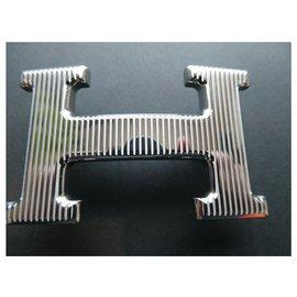 Hermès-hermès buckle 5382 grille in ribbed palladium-plated steel 32MM-Silvery