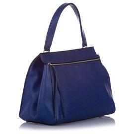 Céline-Celine Blue Medium Edge Leather Handbag-Blue