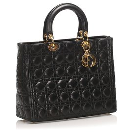 Dior-Dior Black Cannage Lady Dior Leather Handbag-Black