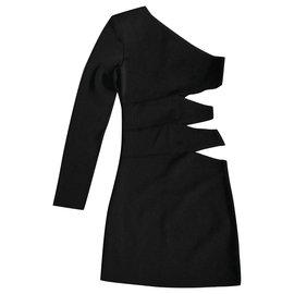 Balmain-Slashed One Sleeve Dress-Black