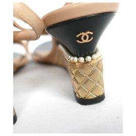 Chanel-Gold & Pearl Heel Wedges-Beige