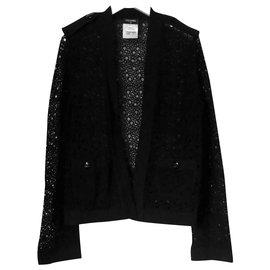 Chanel-Black Lace Knit Jacket-Black