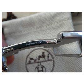 Hermès-Hermès belt buckle 5382 in brushed palladium steel 32MM-Silvery