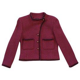 Chanel-Jackets-Pink,Dark red