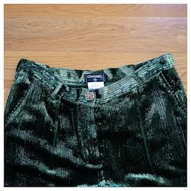 Chanel-Pants, leggings-Green