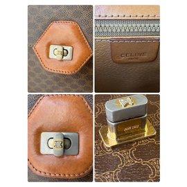 Céline-Celine Old Vintage Macadam Pattern 2way Pochette Handbag PVC x Leather Shoulder-Brown