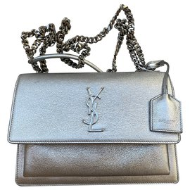 Saint Laurent-Sunset medium Saint Laurent silver-Silvery,White,Metallic