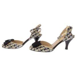 Chanel-Chanel sandals Ribbon motif Ankle strap-Black,White,Blue