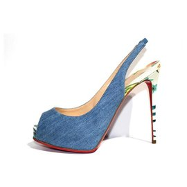 Christian Louboutin-Christian Louboutin Pumps Sandals-White,Blue