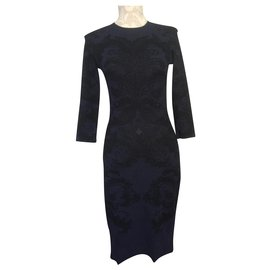 Alexander Mcqueen-Alexander Mcqueen Textured Two-Tone Dress-Black,Navy blue