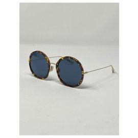 Dior-lunettes de soleil dior logo DIOR HYPNOTIC 1 Y67UNE9 JAUNE HAVANE ET OR-Marron,Doré