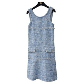 Chanel-Chanel 15P Light Blue Fantasy Tweed Dress-Light blue