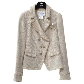 Chanel-Chanel 10A Beige Crested lined Breasted Jacket-Beige