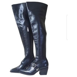 Chloé-Chloé Rylee leather over-the-knee boots-Black