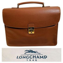 Longchamp-Bags Briefcases-Caramel