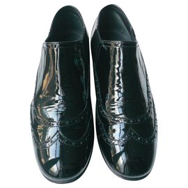 Chanel-CHANEL Elastic patent leather derbies T40 IT B.Condition-Black