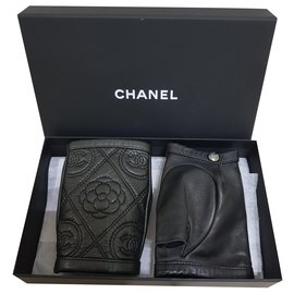 Chanel-Chanel camelia gloves-Black