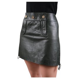 Chanel-Paris-Salzburg leather skirt-Dark green