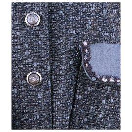 Chanel-RARE belted tweed jacket-Blue