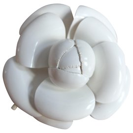 Chanel-Chanel white camellia brooch-White