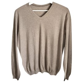 Autre Marque-Massimo dutti beige cotton silk and cashmere sweater - V neck - T. L OR XL-Beige