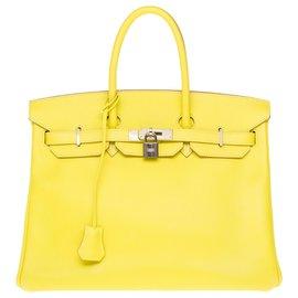 Hermès-Splendid and rare Hermès Birkin handbag 35 two-tone in lemon yellow epsom leather, dove gray interior, Palladie silver metal trim-Grey,Yellow