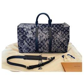 Louis Vuitton-Keepall Bandouliere 50 SAC TAPISSERIE-Bleu Marine