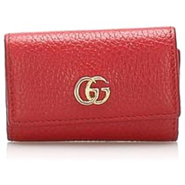 Gucci-Gucci Red GG Marmont Leather Key Holder-Red