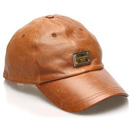 Dolce & Gabbana-Dolce&Gabbana Brown Leather Baseball Cap-Brown