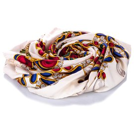 Chanel-Chanel White Printed Silk Scarf-White,Multiple colors