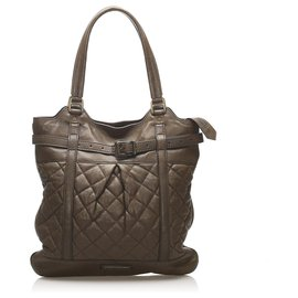 Burberry-Burberry Brown Quilted Lambskin Leather Tote Bag-Brown