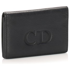 Dior-Dior Black Leather Card Holder-Black