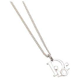 Dior-Dior Silver Dior Logo Pendant Necklace-Silvery