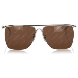 Balenciaga-Balenciaga Brown Square Tinted Sunglasses-Brown,Golden